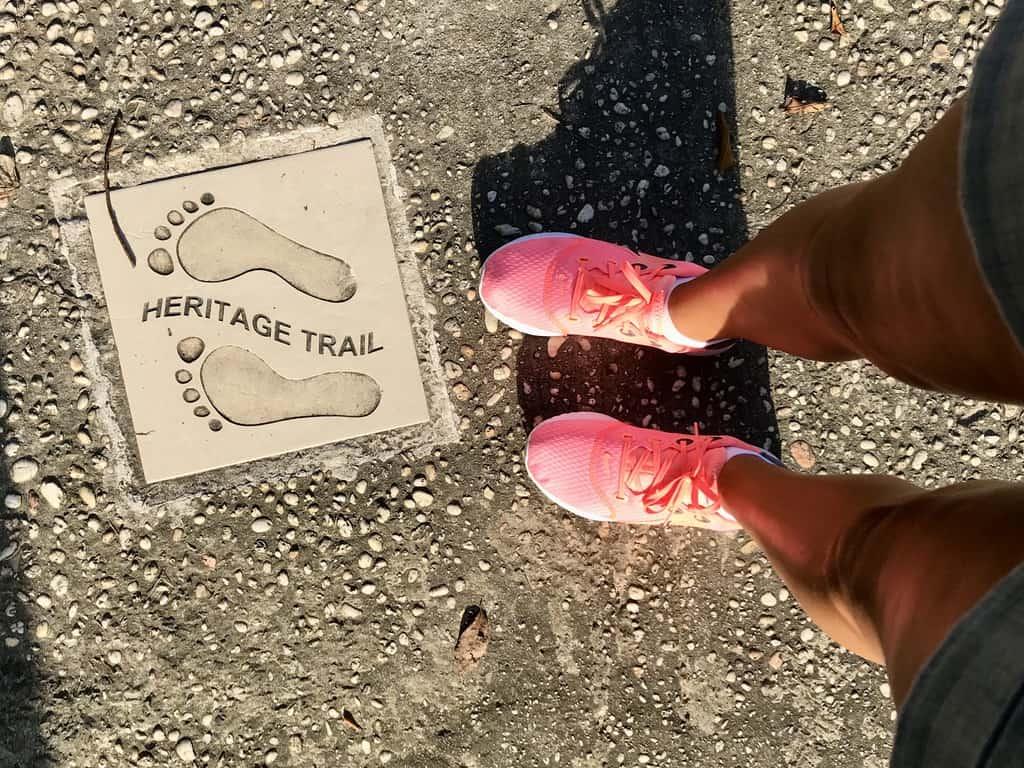 Footprints on sidewalk